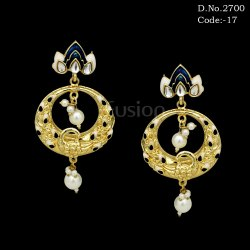 Fusion Meenakari Chandbali Earrings