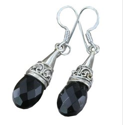 Black Onyx 92.5 Sterling Silver Earrings