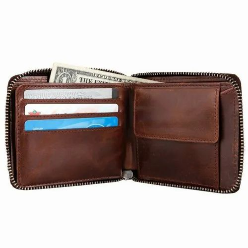 Mens Genuine Leather RFID Blocking Two Tone Wallet Purse Zipped Coin Section