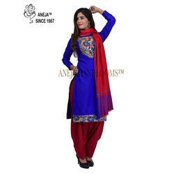 Ladies Blue and Red Stylish Suit