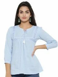 Yash Gallery Women's Cotton Embroidered Top