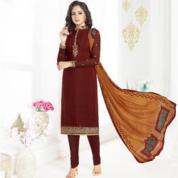Brown Crepe Latest Designer Straight Salwar Suits