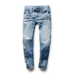 Tapered Fit Faded Denim Jeans, Waist Size: 36