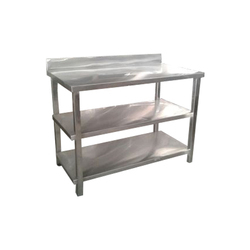 Silver Mirror Finish Stainless Steel Working Table, For Restaurants, Number of Shelves: 3