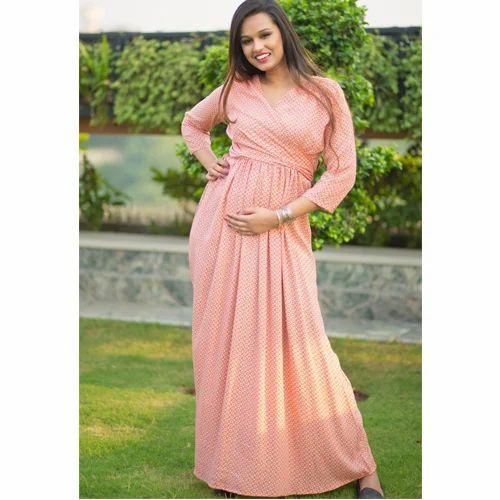 85c2e28d5bb Tangerine Printed Maternity   Nursing Wrap Dress at Rs 2499  piece ...