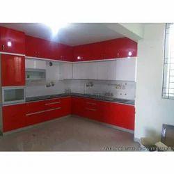 Red and White PVC Membrane Trendy Modular Kitchen