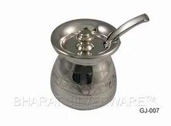 Pure Silver Fancy Engraving Ghee Jadi With Spoon