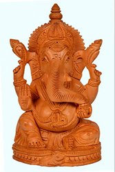 Natural Pan India Wooden Ganpati Statue, Box Packaging