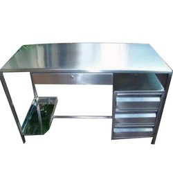 Silver Galvanized Stainless Steel Office Table