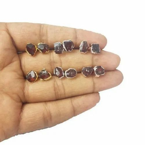 Garnet Rough Electroplated Stud Earrings