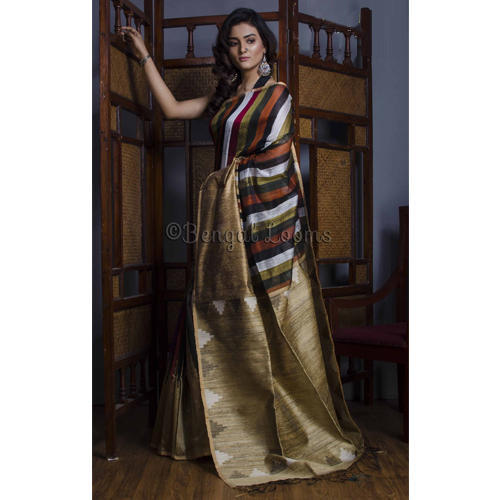 c0314b1c5b Pure Handloom Matka Tussar Silk Saree with Multi Color Stripes at Rs ...