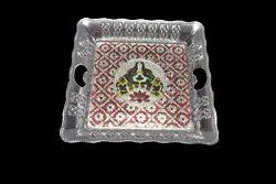 Square Silver Meenakari Tray