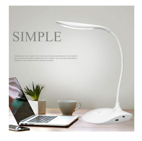 Pure White Plastic Rechargeable Led, Led Touch Desk Lamp