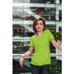 Half Sleeves Cotton Ladies Plain T Shirt, Size: 26 to 46