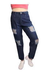 Non-Stretchable Zipper Dark Blue Ripped Ladies Jeans
