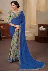 Beige and Royal Blue Georgette Print Saree