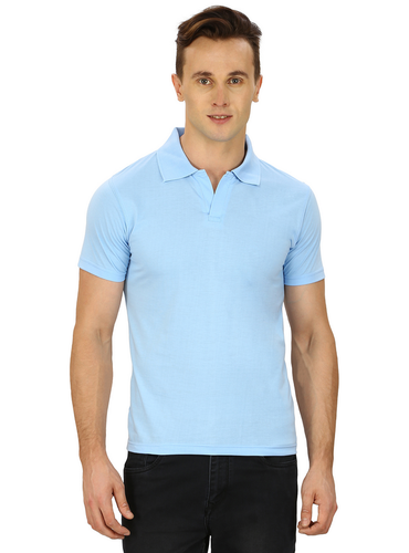 2d21323a735b4 Pintapple Solid Mens Polo Neck Light Blue T-Shirt at Rs 149  piece ...
