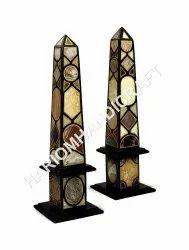 Pair Of Black Marble Obelisks Semi Precious Pietra Dura Inlay Stone Art Handmade Home Decors