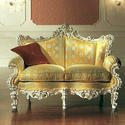 Yellow Two Seater Wooden Carved Sofa