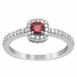 Solitaire Accents 925 Sterling Silver Red Color Gemstone Women Ring