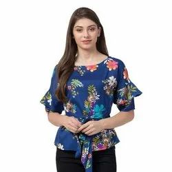 Polyester Round Neck Ladies Floral Printed Top, Packaging Type: Packet