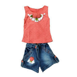 Girls Cotton and Denim Casual Top and Shorts