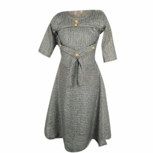AL Tasha Garment Round Girls Stylish Midi Dress