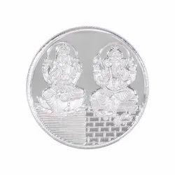 999 Pure Silver Coin Laxmi And Ganesh, Weight: 10gm