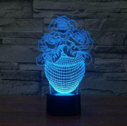 Flower Pot Illusion Acrylic Lamp for Decoration