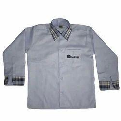 FORMAL WEAR Cotton Light Sky School Uniform Shirt With Check Coller Kaff