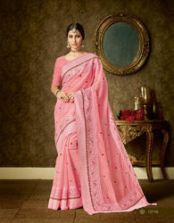 Organza Embroidered Party Wear Saree