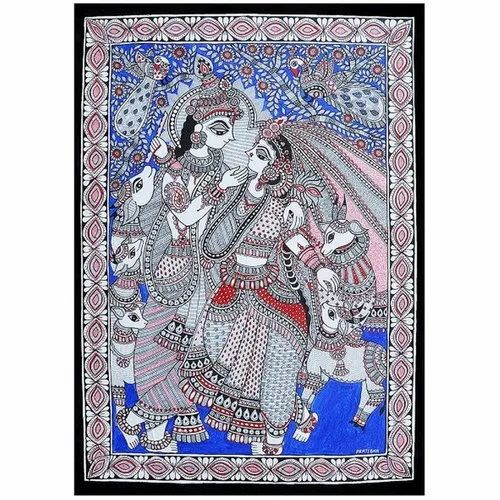 Radha Krishna Exclusive Madhubani Painting (Line Painting) on Hand Made Paper