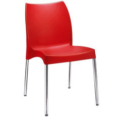 Polypropylene Molded Shell Red Cafe Chair, for Hotel, Set Size: Single