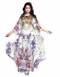 Floral Digital Printed Long Satin Silk Kaftan Kurtas Dress For Women (JK3979)
