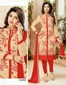 Cherry Blossom Beige and Red Chanderi Cotton Suit Material