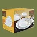 Base White Glass Laopala Diva Dinner Set 45 Pcs, For Home