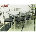 6 Chair And 1 Table Stainless Steel Glass Top Dining Table Set