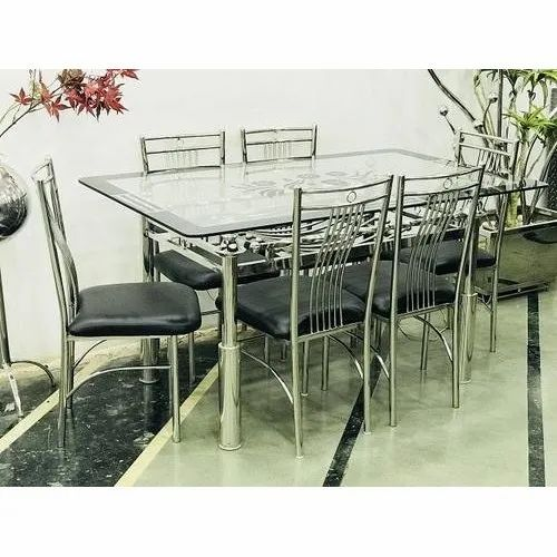 Stainless Steel Glass Top Dining Table Set