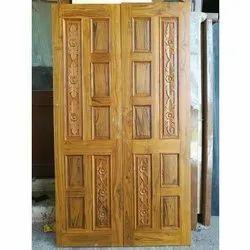 Polished Brown Wooden Entrance Door, For Home