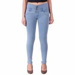 Regular High Rise Ladies Blue Denim Jeans