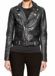Full Sleeve Solid Leather Women's Jackets