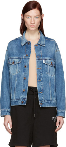 Product Image. Read More · Off-white Blue Denim Sprayed Diagonals Jacket  Women 2a305110a3
