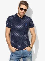 U S Polo Navy Blue Printed Regular Fit Polo T Shirt