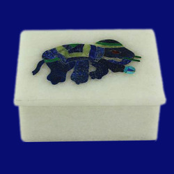 Marble Box With Inlay Elephant Design