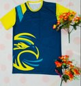Yellow And Blue Rich Quality Sports Jersey