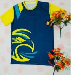 Round Neck Yellow And Blue Rich Quality Sports Jersey