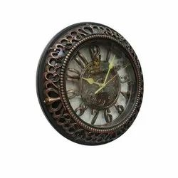 Brown Analog Antique Wooden Round Wall Clock, for Home