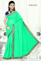 Plain Border Saree