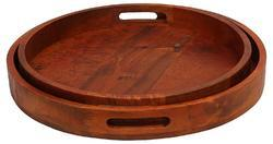 Wood Tray, 2-Piece, 5 cm, Brown