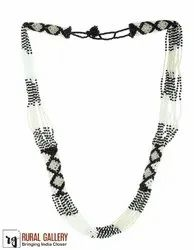 White Black Seed Beads Necklace